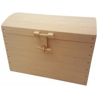 Houten speelgoedkist blank hout met boldeksel 46 cm