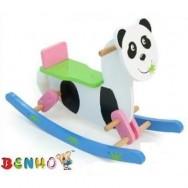 Houten hobbel panda met steun