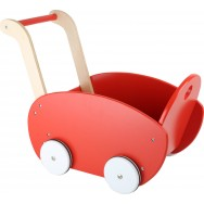 Poppenwagen hout rood rond