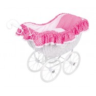 Rieten poppenwagen roze bekleding Rosa