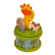 Muziekdoosje hout giraf jungle