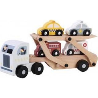 Houten autotranssporter met 4 autootjes 112