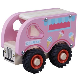 Houten ijsco wagen roze met zwarte rubber wielen