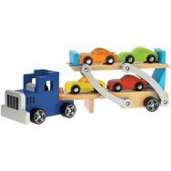 Houten auto transsporter Toi Toys