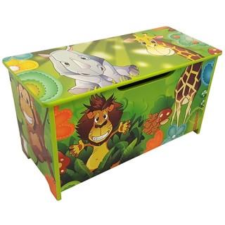 Houten speelgoedbank opbergkist Jungle