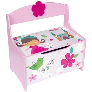 Houten speelgoedbank opbergkist Prinses