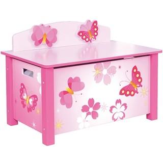Houten speelgoedbank opbergkist vlinder