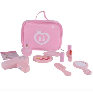 Make up hout in roze beauty tas