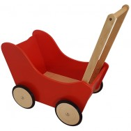 Poppenwagen hout rood