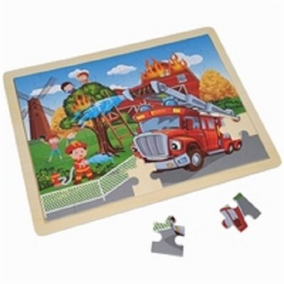 Legpuzzel Brandweer hout in frame 48 pcs