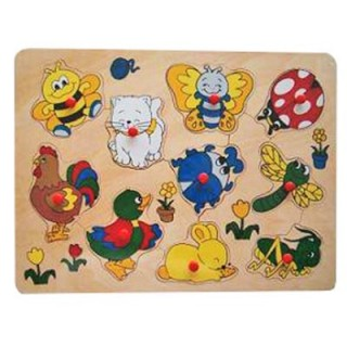 houten noppenpuzzel vrolijke dieren