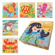Houten blokpuzzel zeedieren