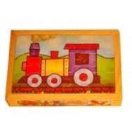 Puzzel voertuigen 4 in 1 houten kistje