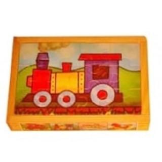 Legpuzzel voertuigen 4 in 1 houten kistje