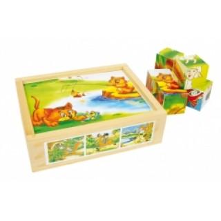 Houten blokpuzzel grappige dieren