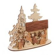 KERST waxinelichthouder hout Kerstman