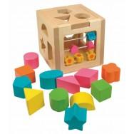 Houten vormen kubus met telraam